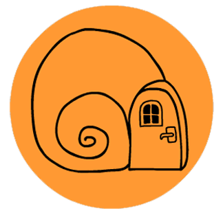website logo - orange circle, stylized snail shell with window and funnel inside it.